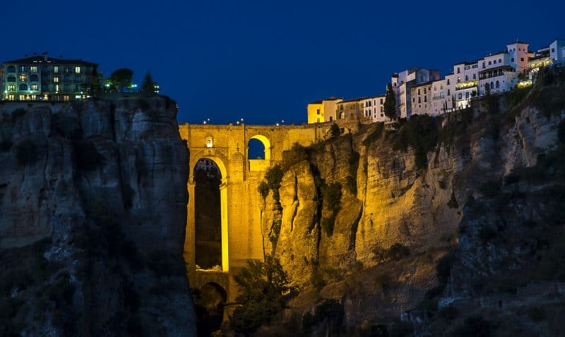 ronda and the gorge at night