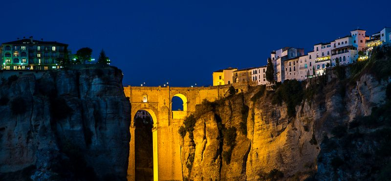 ronda & the gorge at night