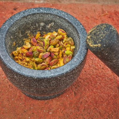 pestle and mortar and nuts