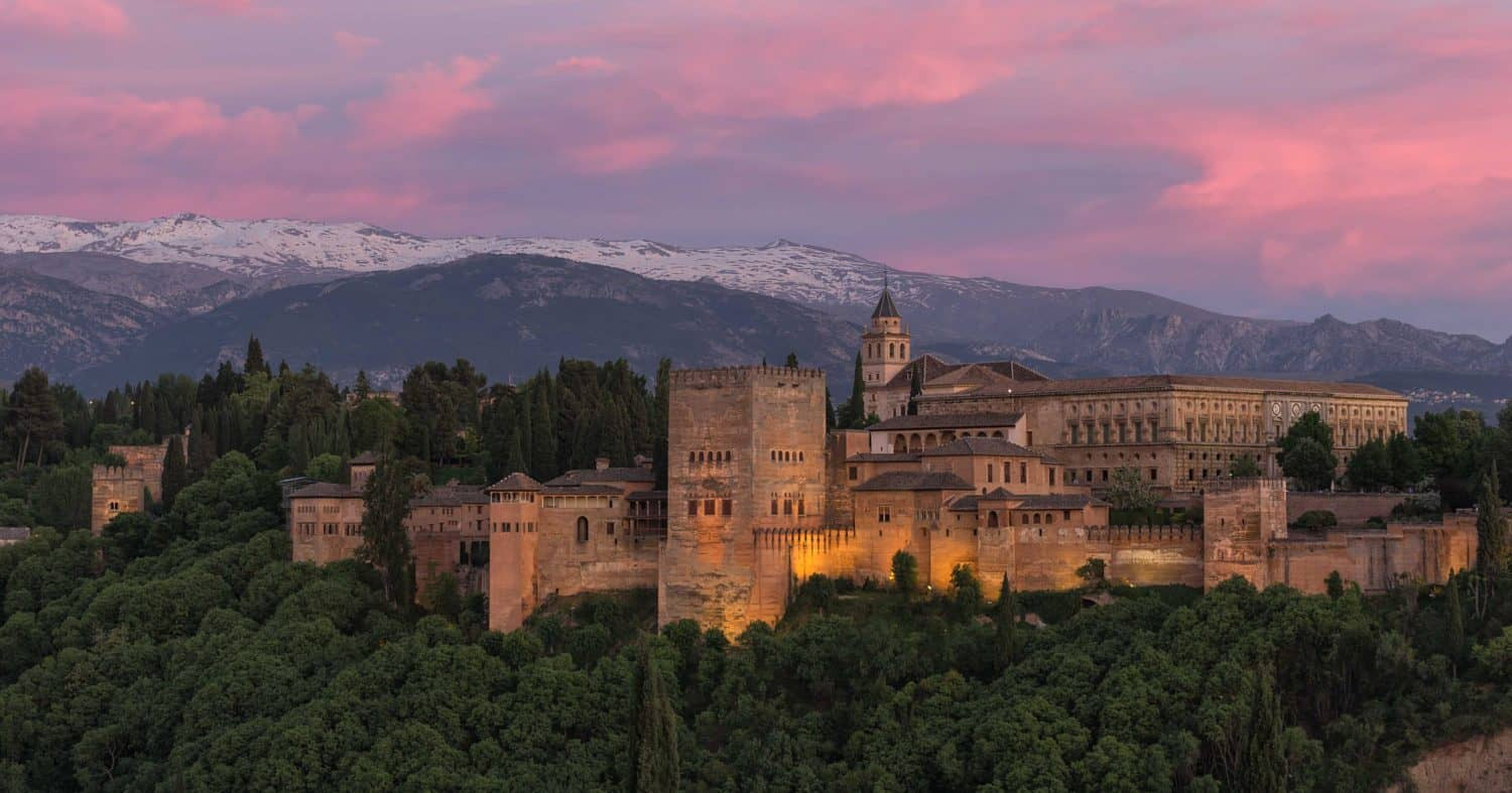 view of the alhambra at sunset