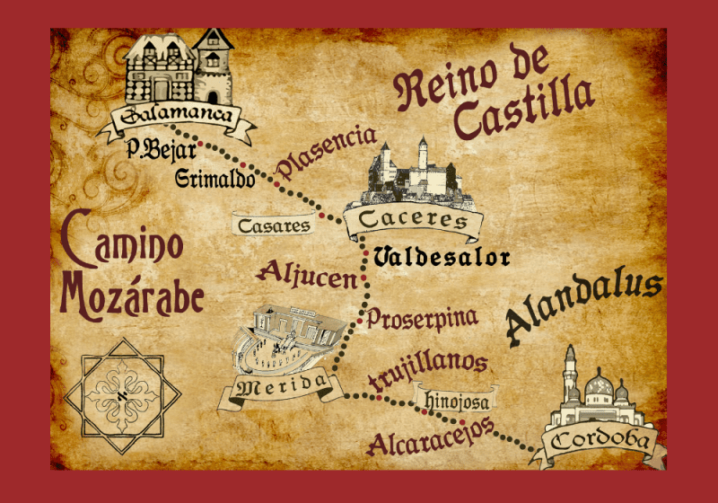 Map walk Camino de Santiago Spain