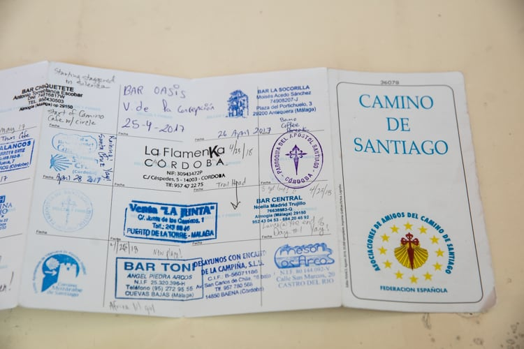 Pilgrim passport walk Camino de Santiago Spain