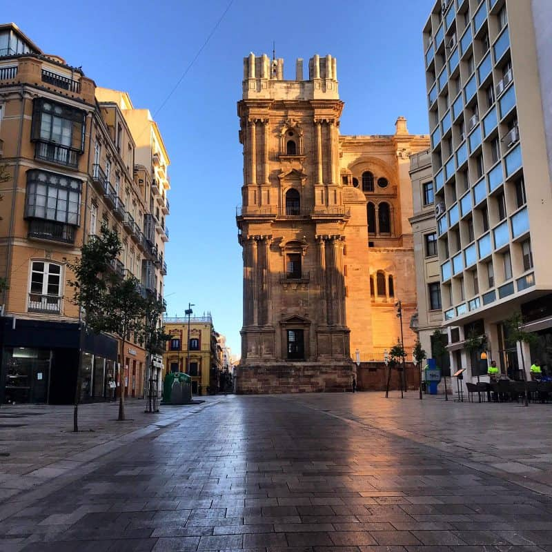 Malaga cathedral early morning light